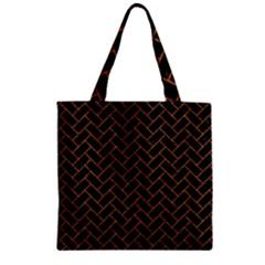 Brick2 Black Marble & Rusted Metal (r) Zipper Grocery Tote Bag by trendistuff