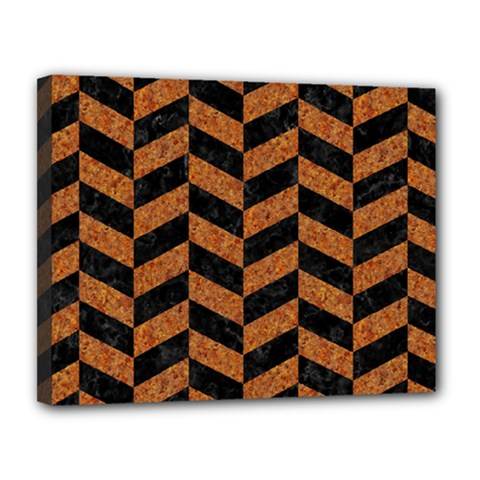 Chevron1 Black Marble & Rusted Metal Canvas 14  X 11  by trendistuff