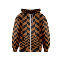 Chevron1 Black Marble & Rusted Metal Kids  Zipper Hoodie by trendistuff