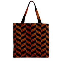 Chevron1 Black Marble & Rusted Metal Zipper Grocery Tote Bag by trendistuff
