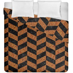 Chevron1 Black Marble & Rusted Metal Duvet Cover Double Side (king Size) by trendistuff