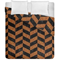 Chevron1 Black Marble & Rusted Metal Duvet Cover Double Side (california King Size) by trendistuff