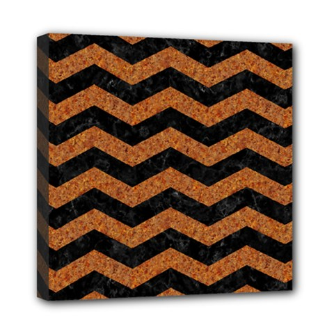 Chevron3 Black Marble & Rusted Metal Mini Canvas 8  X 8  by trendistuff