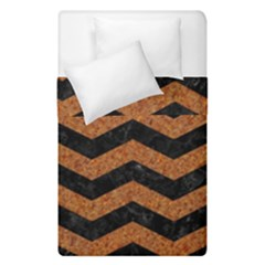 Chevron3 Black Marble & Rusted Metal Duvet Cover Double Side (single Size) by trendistuff