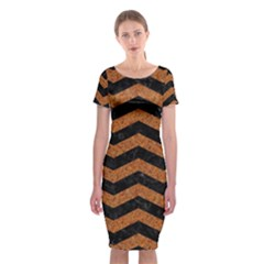 Chevron3 Black Marble & Rusted Metal Classic Short Sleeve Midi Dress by trendistuff