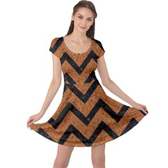 Chevron9 Black Marble & Rusted Metal Cap Sleeve Dress by trendistuff