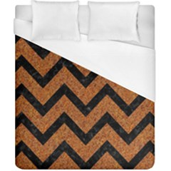 Chevron9 Black Marble & Rusted Metal Duvet Cover (california King Size) by trendistuff