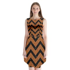 Chevron9 Black Marble & Rusted Metal Sleeveless Chiffon Dress   by trendistuff