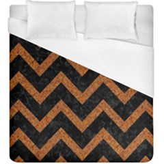 Chevron9 Black Marble & Rusted Metal (r) Duvet Cover (king Size) by trendistuff