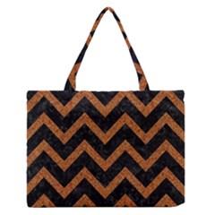 Chevron9 Black Marble & Rusted Metal (r) Zipper Medium Tote Bag by trendistuff
