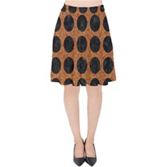 Circles1 Black Marble & Rusted Metal Velvet High Waist Skirt by trendistuff