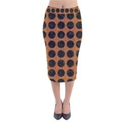 Circles1 Black Marble & Rusted Metal Velvet Midi Pencil Skirt by trendistuff