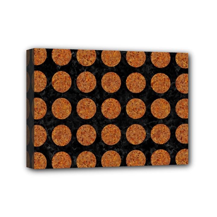 CIRCLES1 BLACK MARBLE & RUSTED METAL (R) Mini Canvas 7  x 5