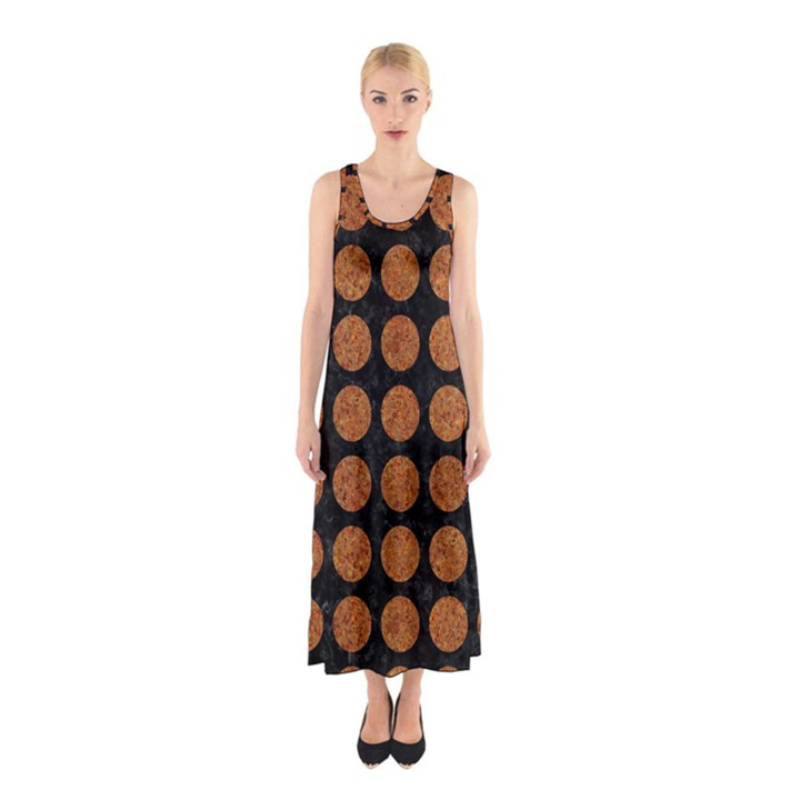 CIRCLES1 BLACK MARBLE & RUSTED METAL (R) Sleeveless Maxi Dress