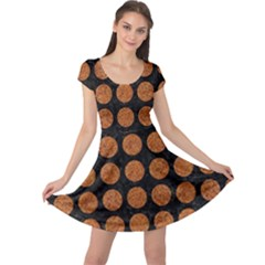 Circles1 Black Marble & Rusted Metal (r) Cap Sleeve Dress