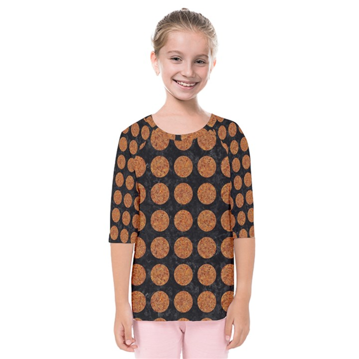 CIRCLES1 BLACK MARBLE & RUSTED METAL (R) Kids  Quarter Sleeve Raglan Tee
