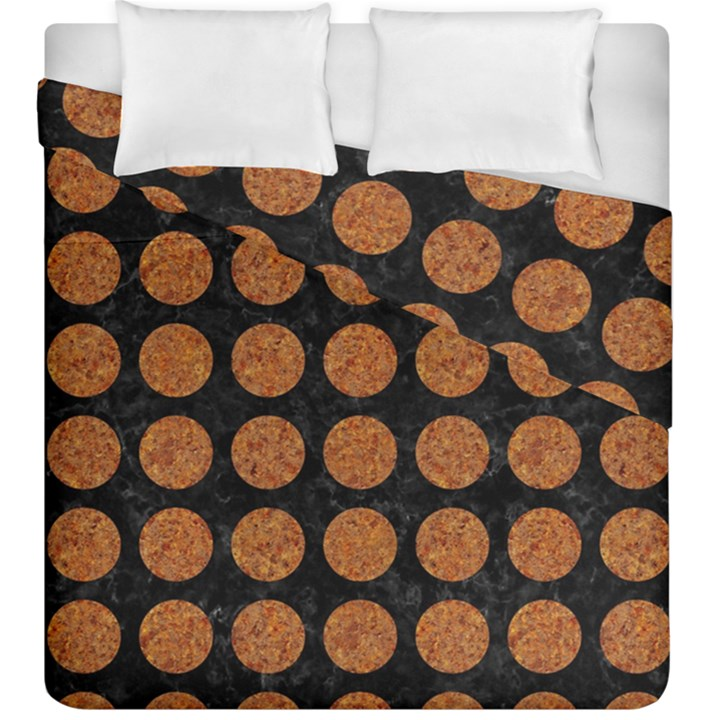 CIRCLES1 BLACK MARBLE & RUSTED METAL (R) Duvet Cover Double Side (King Size)