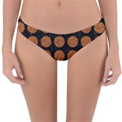 Circles1 Black Marble & Rusted Metal (r) Reversible Hipster Bikini Bottoms