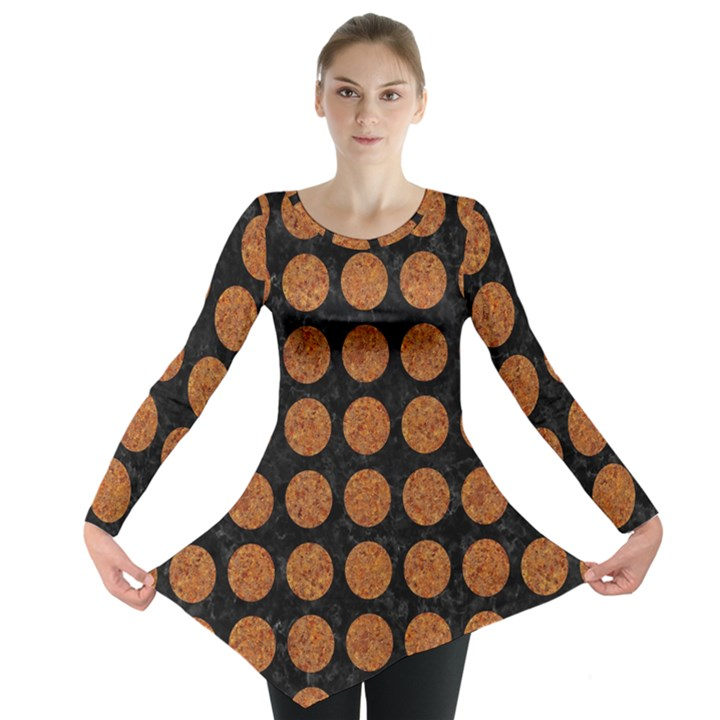 CIRCLES1 BLACK MARBLE & RUSTED METAL (R) Long Sleeve Tunic