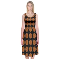 Circles1 Black Marble & Rusted Metal (r) Midi Sleeveless Dress by trendistuff