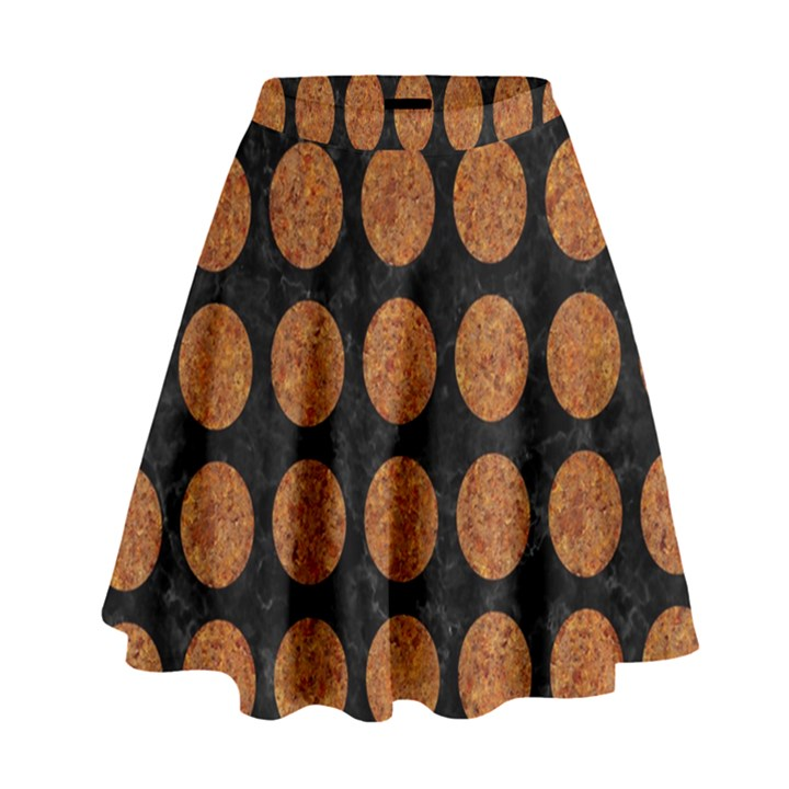 CIRCLES1 BLACK MARBLE & RUSTED METAL (R) High Waist Skirt