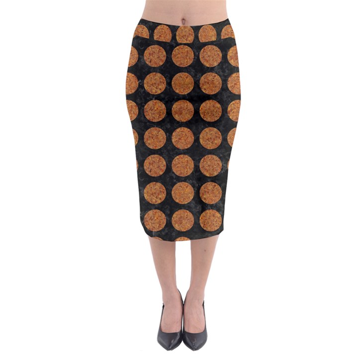 CIRCLES1 BLACK MARBLE & RUSTED METAL (R) Midi Pencil Skirt