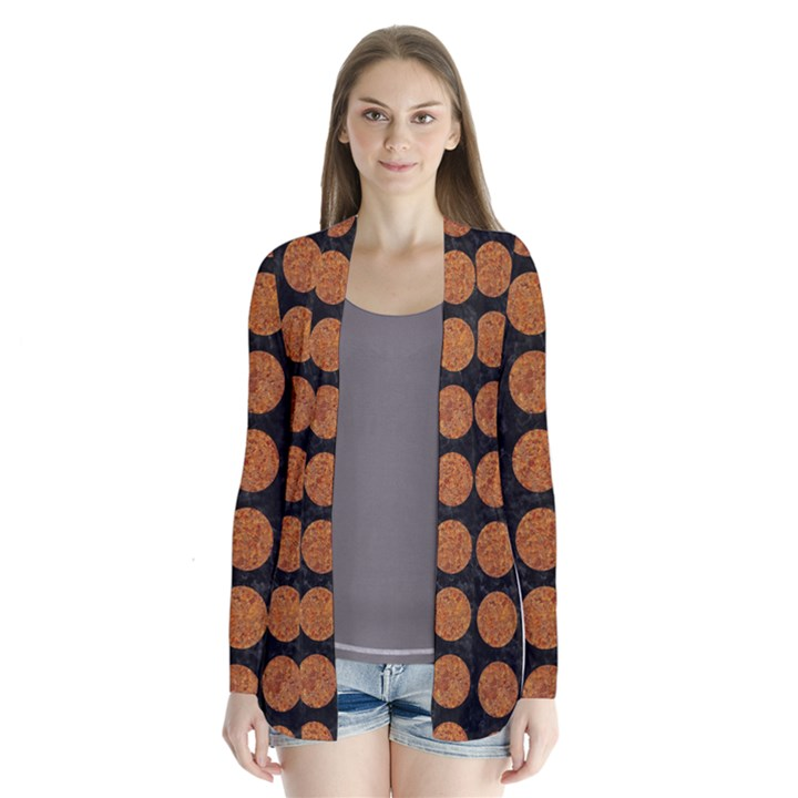 CIRCLES1 BLACK MARBLE & RUSTED METAL (R) Drape Collar Cardigan