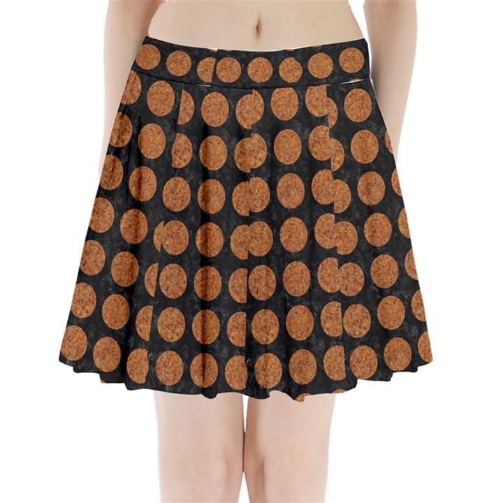 CIRCLES1 BLACK MARBLE & RUSTED METAL (R) Pleated Mini Skirt