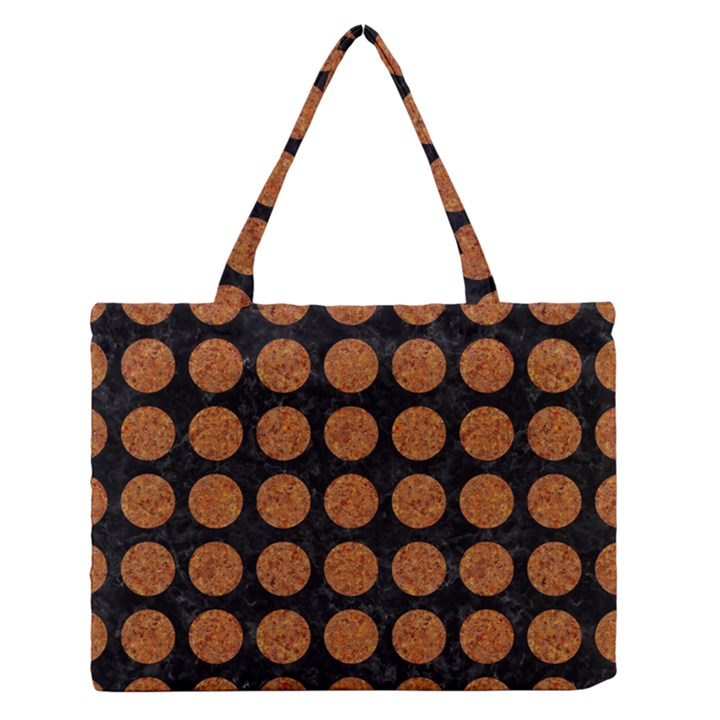 CIRCLES1 BLACK MARBLE & RUSTED METAL (R) Zipper Medium Tote Bag