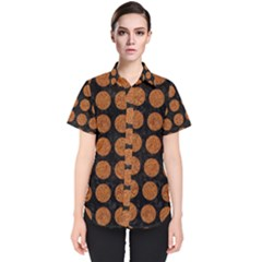 Circles1 Black Marble & Rusted Metal (r) Women s Short Sleeve Shirt