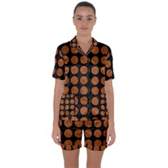Circles1 Black Marble & Rusted Metal (r) Satin Short Sleeve Pyjamas Set by trendistuff