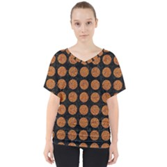 Circles1 Black Marble & Rusted Metal (r) V Neck Dolman Drape Top