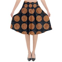 Circles1 Black Marble & Rusted Metal (r) Flared Midi Skirt by trendistuff