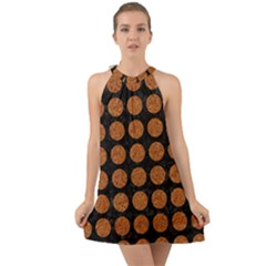 Circles1 Black Marble & Rusted Metal (r) Halter Tie Back Chiffon Dress