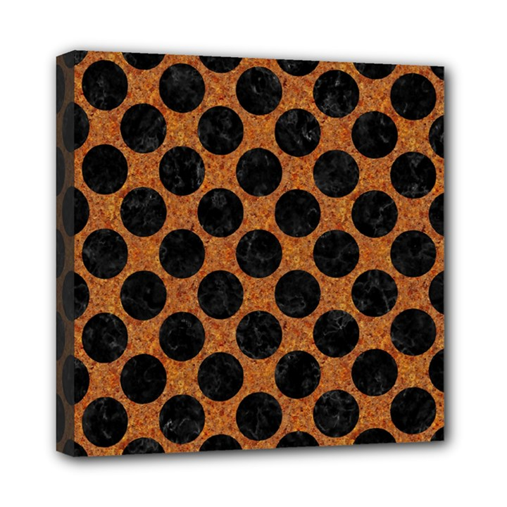 CIRCLES2 BLACK MARBLE & RUSTED METAL Mini Canvas 8  x 8