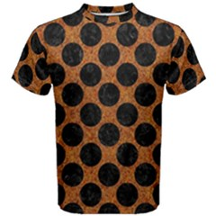 Circles2 Black Marble & Rusted Metal Men s Cotton Tee by trendistuff