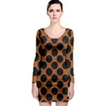 CIRCLES2 BLACK MARBLE & RUSTED METAL Long Sleeve Bodycon Dress
