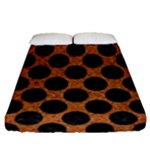 CIRCLES2 BLACK MARBLE & RUSTED METAL Fitted Sheet (Queen Size)