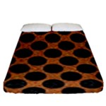 CIRCLES2 BLACK MARBLE & RUSTED METAL Fitted Sheet (King Size)