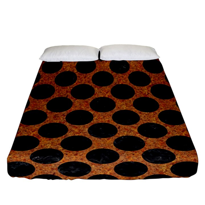 CIRCLES2 BLACK MARBLE & RUSTED METAL Fitted Sheet (California King Size)