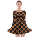 CIRCLES2 BLACK MARBLE & RUSTED METAL Long Sleeve Skater Dress