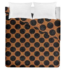 Circles2 Black Marble & Rusted Metal Duvet Cover Double Side (queen Size) by trendistuff