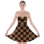 CIRCLES2 BLACK MARBLE & RUSTED METAL Strapless Bra Top Dress