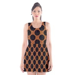 Circles2 Black Marble & Rusted Metal Scoop Neck Skater Dress