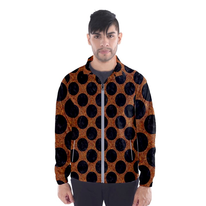 CIRCLES2 BLACK MARBLE & RUSTED METAL Wind Breaker (Men)