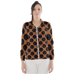 Circles2 Black Marble & Rusted Metal Wind Breaker (women)