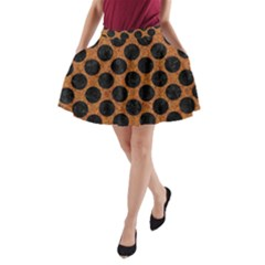 Circles2 Black Marble & Rusted Metal A Line Pocket Skirt