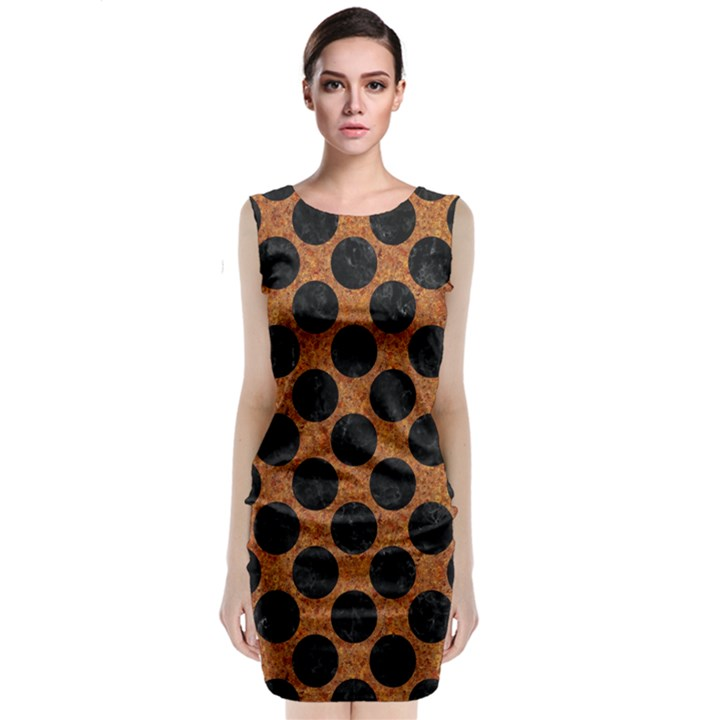 CIRCLES2 BLACK MARBLE & RUSTED METAL Classic Sleeveless Midi Dress