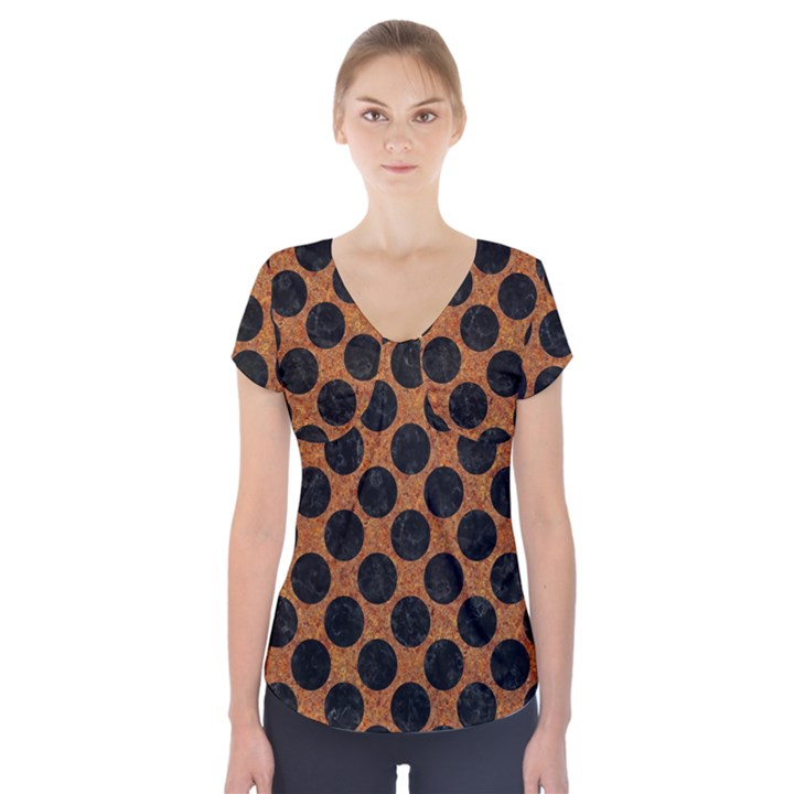 CIRCLES2 BLACK MARBLE & RUSTED METAL Short Sleeve Front Detail Top