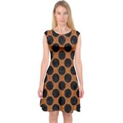 Circles2 Black Marble & Rusted Metal Capsleeve Midi Dress